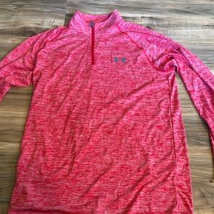 Men's under armour red quarter zip size small